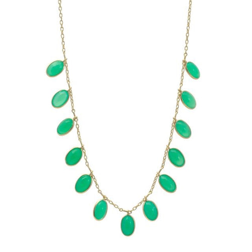 Multi Bezel Oval Chrysoprase Fringe Necklace