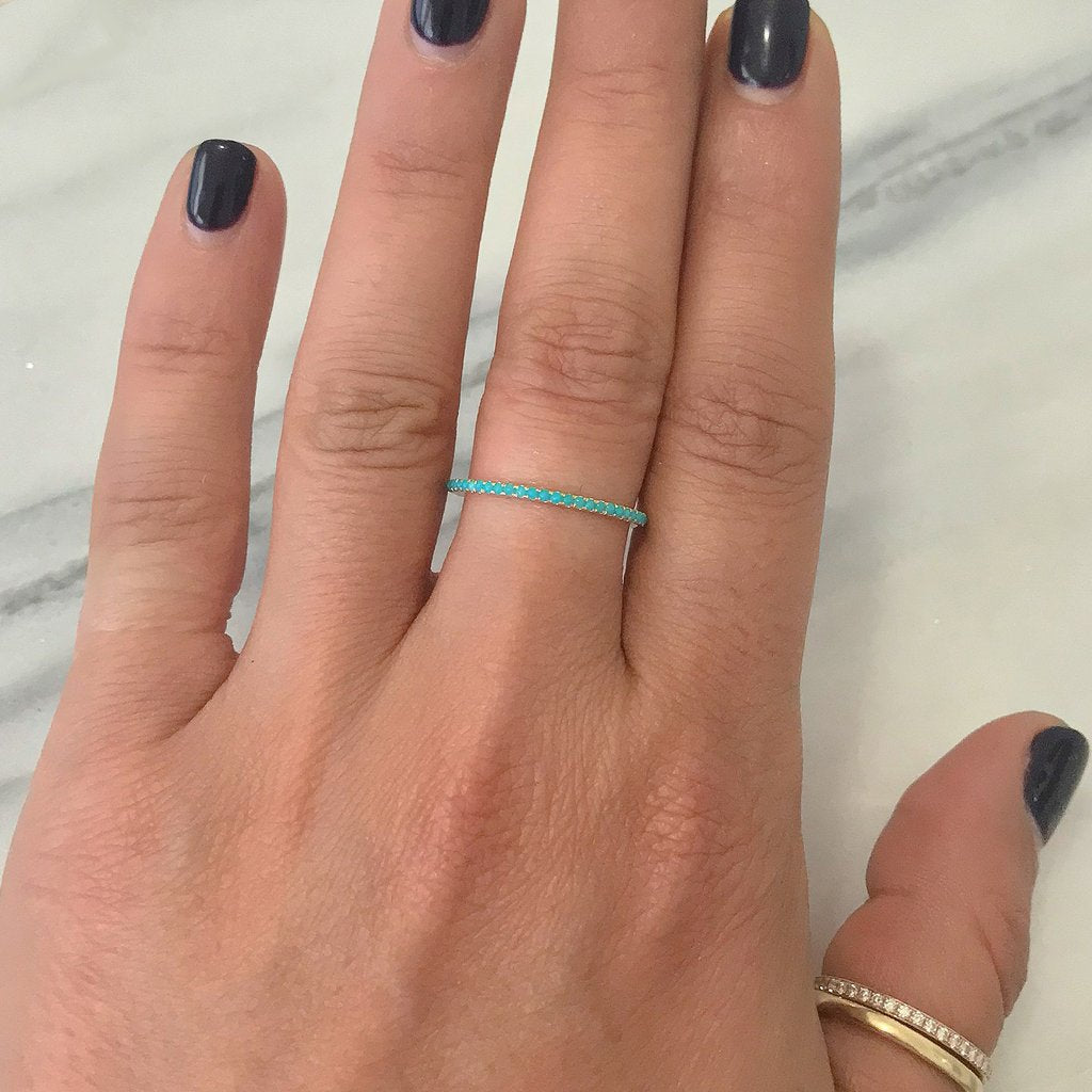 Turquoise Micro Eternity Band