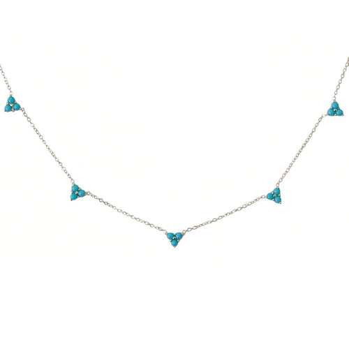 Turquoise Trinity Cluster Charm Necklace