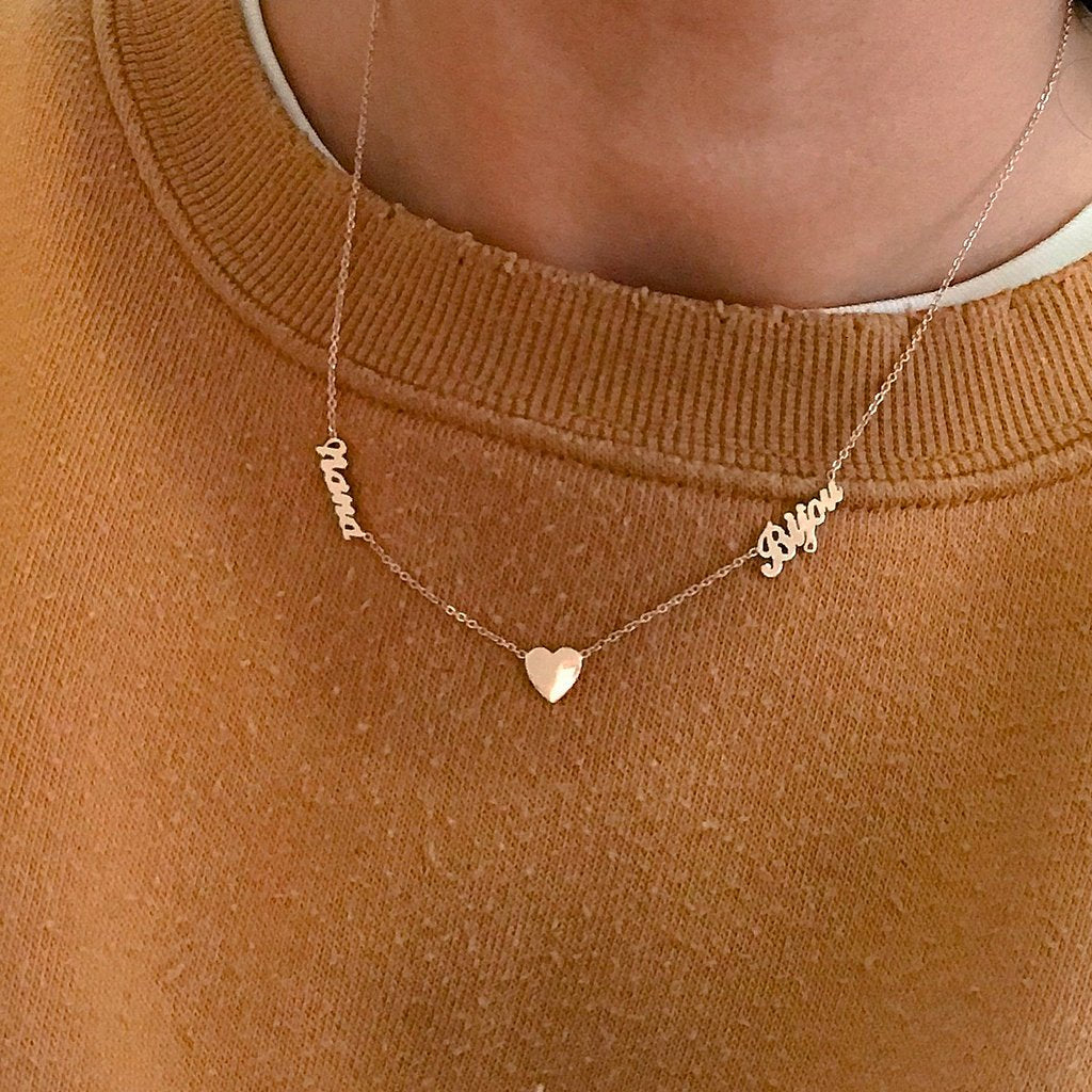 Double Script + Heart Personalized Necklace