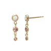 Triple Opal & Pink Sapphire Dangle Studs