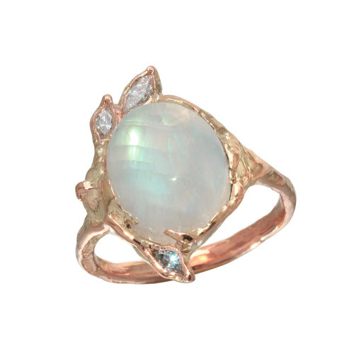 Oval Moonstone & Diamond Ring