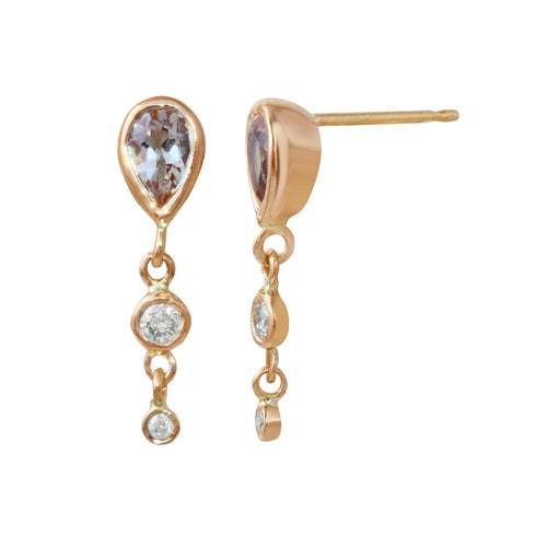 Aquamarine & Diamond Dangle Earrings