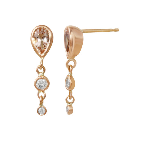 Morganite & Diamond Dangle Earrings