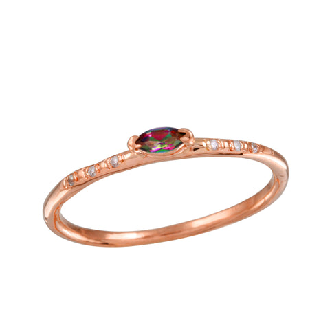 Rainbow Topaz Pave Diamond Ring