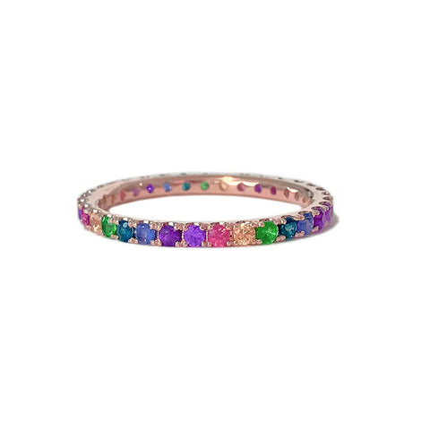 Rainbow Gemstone Eternity Ring