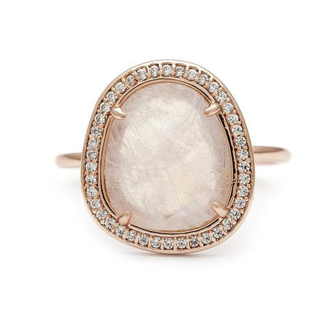 Moonstone with Pave CZ Halo Ring