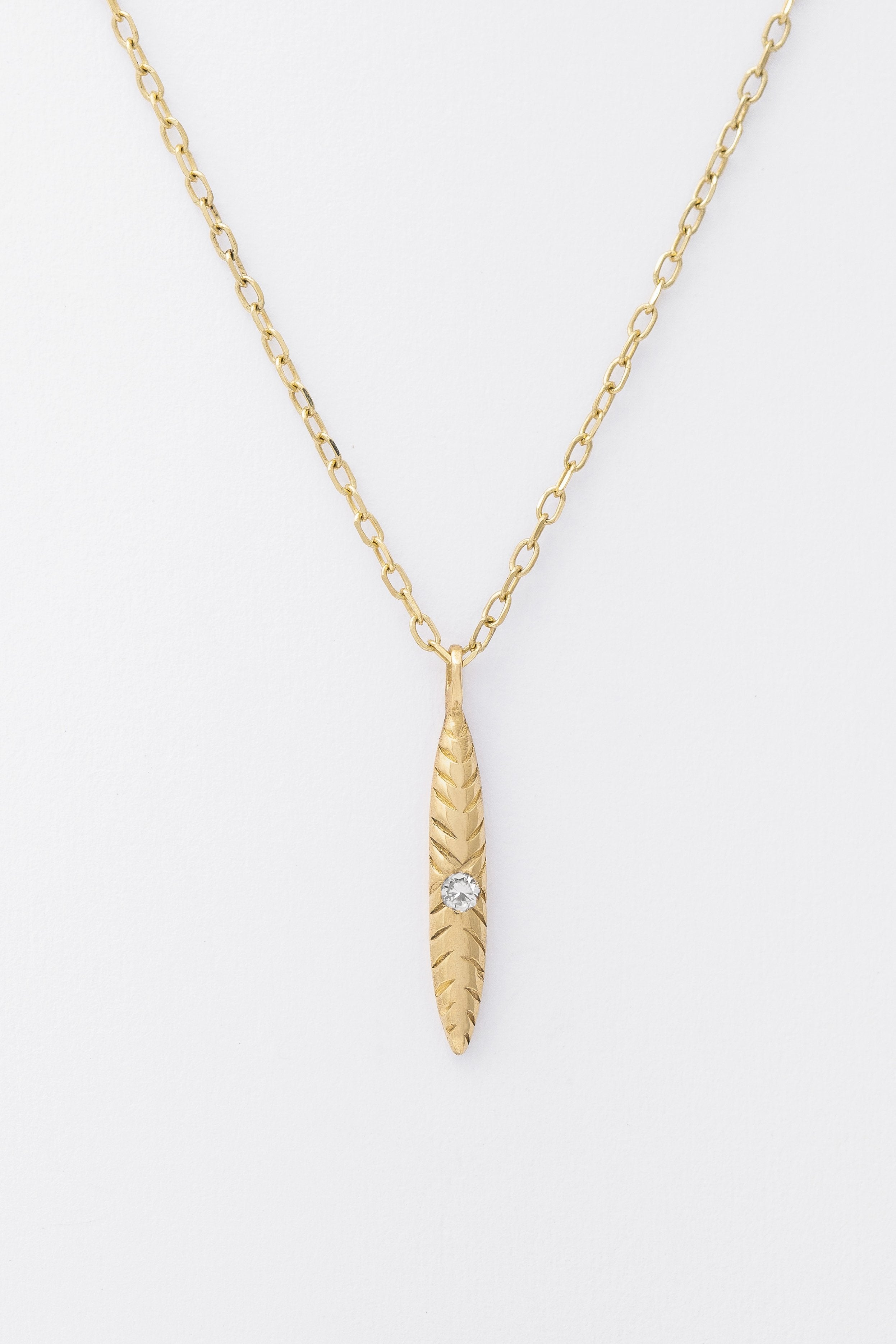 One Diamond Etched Ovate Necklace