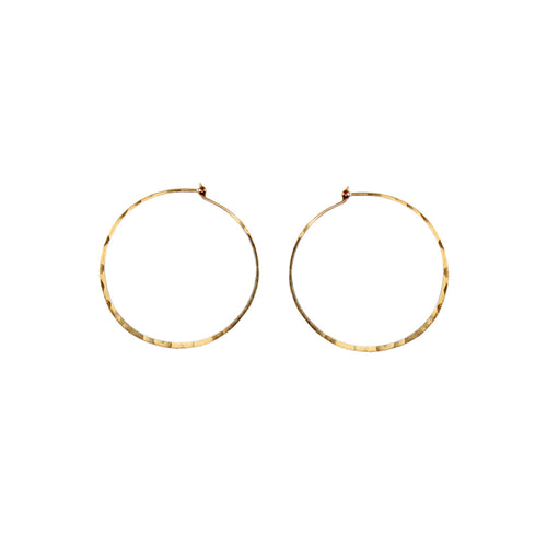SMALL THIN HAMMERED HOOPS