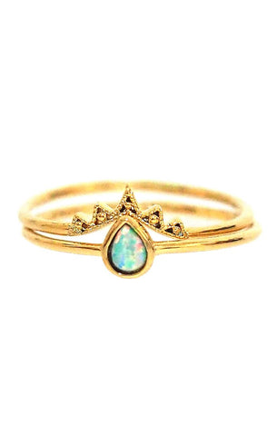 Crown & Opal Ring Set