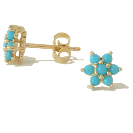 Turquoise Rosebud Flower Stud Earrings