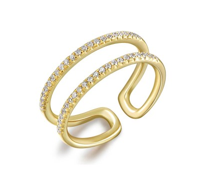 Pave Diamond Double Band Midi Ring