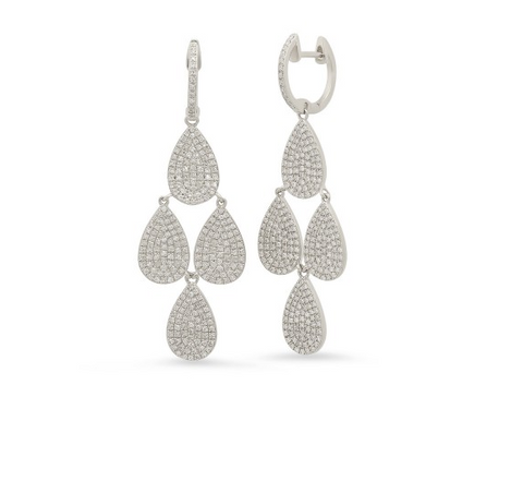 Pave Diamond Pear Shape Drops