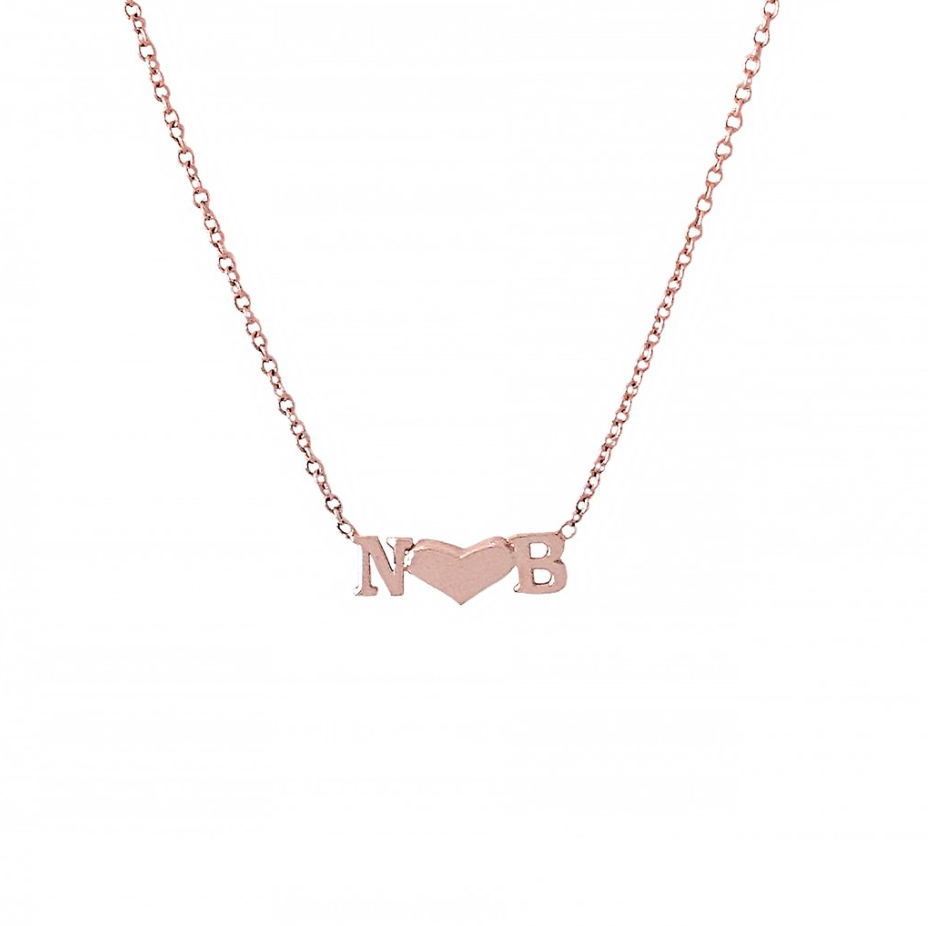 Gold Initial & Heart Necklace