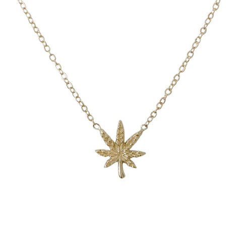 Gold Marijuana Leaf Necklace