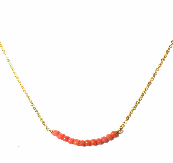 Japanese Pink Coral Bar Necklace