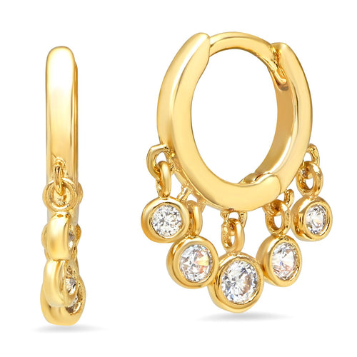 Gold CZ Dangle Huggies