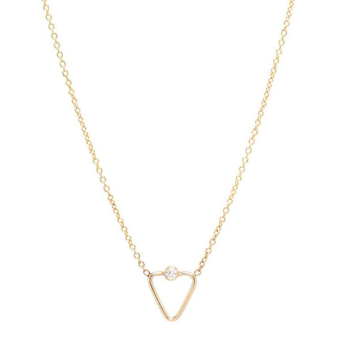 Tiny Diamond Open Triangle Necklace