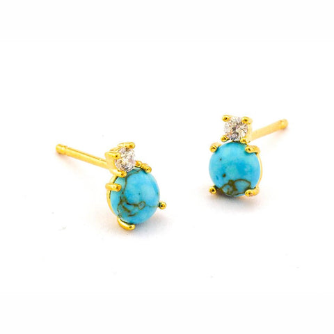 Turquoise and CZ studs