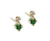 Tiny Emerald & Diamond Stud Earrings