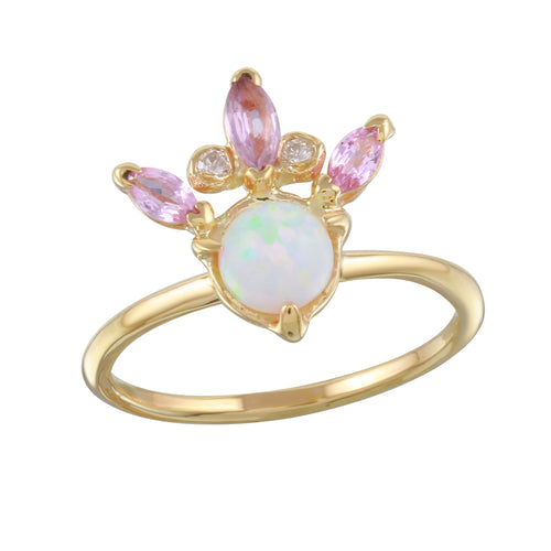 Opal, Diamond & Pink Sapphire Crown Ring