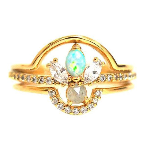 Opal & CZ Triple Ring Set