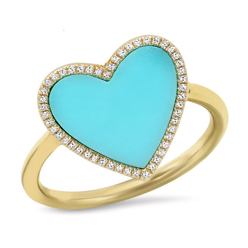 Turquoise & Pave Heart Ring