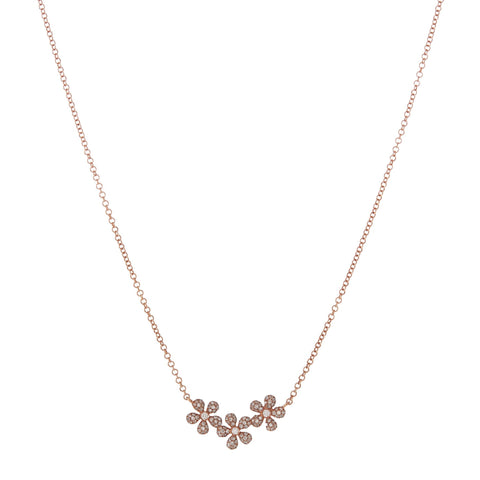Diamond Flower Trio Necklace