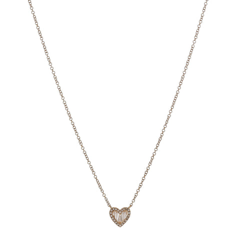 Baguette & Pave Diamond Heart Necklace