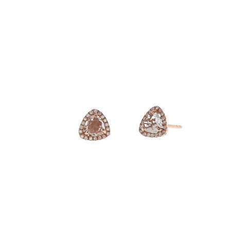 White Topaz & Pave Diamond Trillion Studs