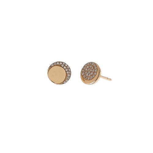 Crescent Moon Disc Studs
