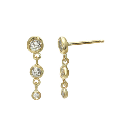 Triple Diamond Dangle Studs