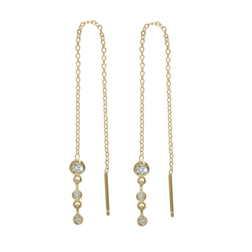 Triple Diamond Bezel Threader Earrings