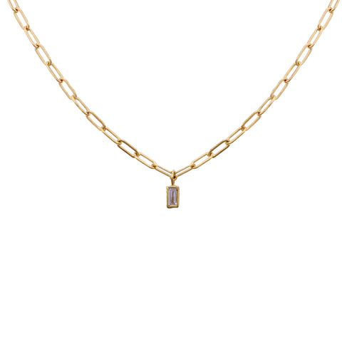 Diamond Baguette on Oval Link Chain Necklace