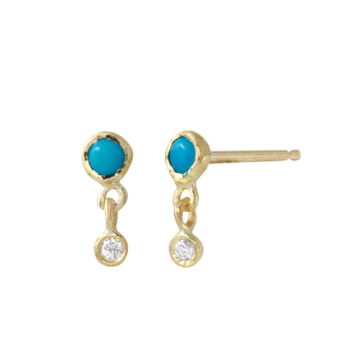 Turquoise & Diamond Double Dangle Studs