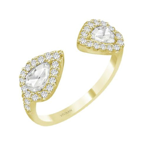 Double Pear Cut Open Diamond Ring