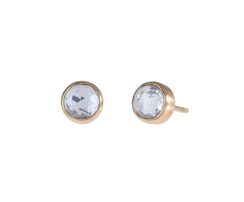 Rose Cut Sky Blue Topaz Studs