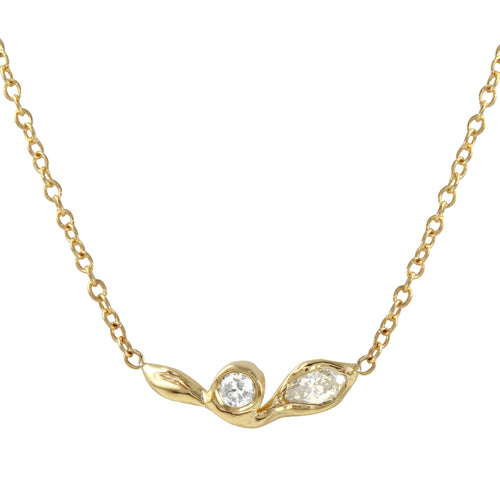 Diamond Marquise Leaf Necklace