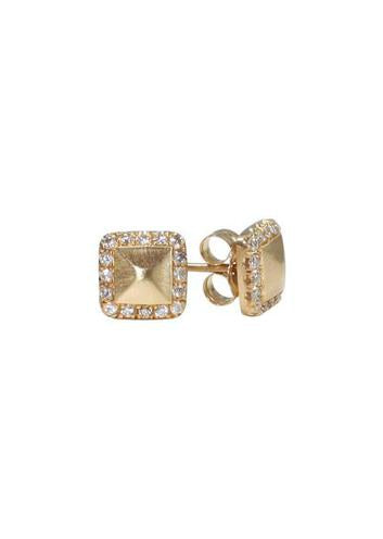 BRUSHED GOLD PAVE DIAMOND STUDS