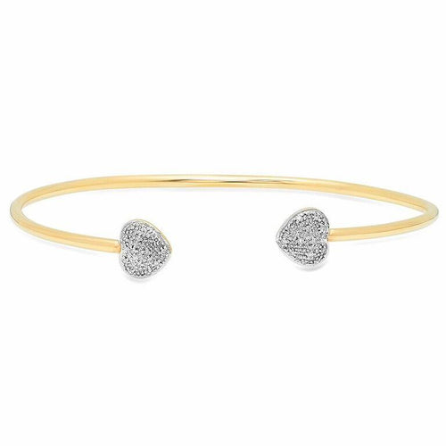 Diamond Double Heart Cuff