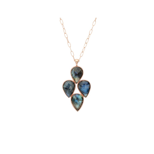 4 Teardrop Labradorite Necklace