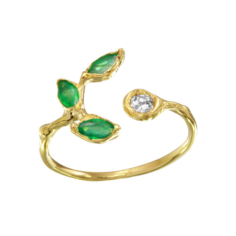 Emerald & Diamond Marquise Leaf Ring