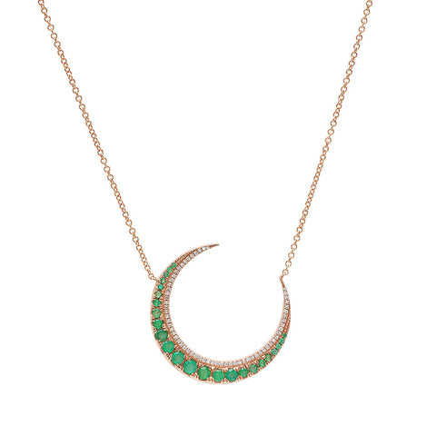 Emerald Crescent Moon Necklace