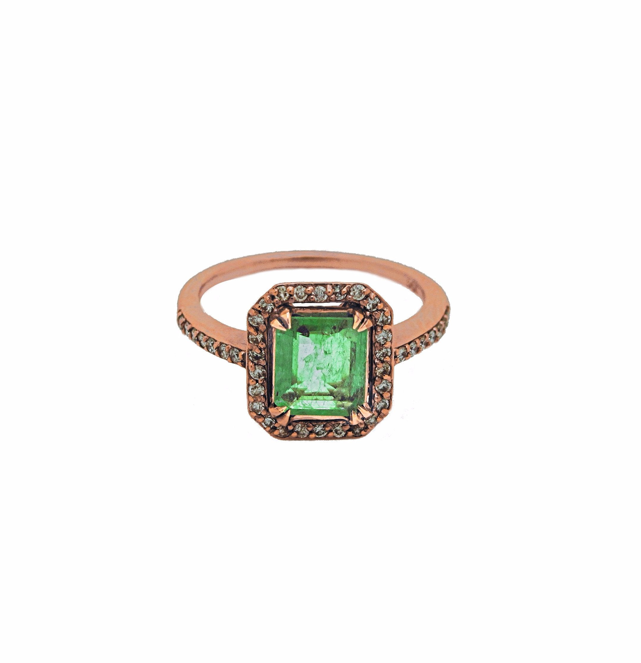 Emerald & Pave Ring