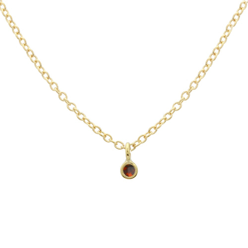 Single Bezel Garnet Necklace