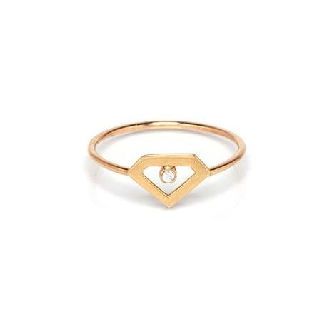 Tiny Diamond Gemstone Ring