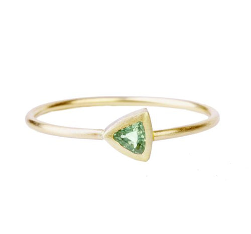 Green Sapphire Trillion Ring
