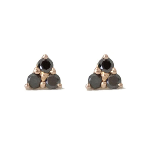 Triple Black Diamond Stud Earrings