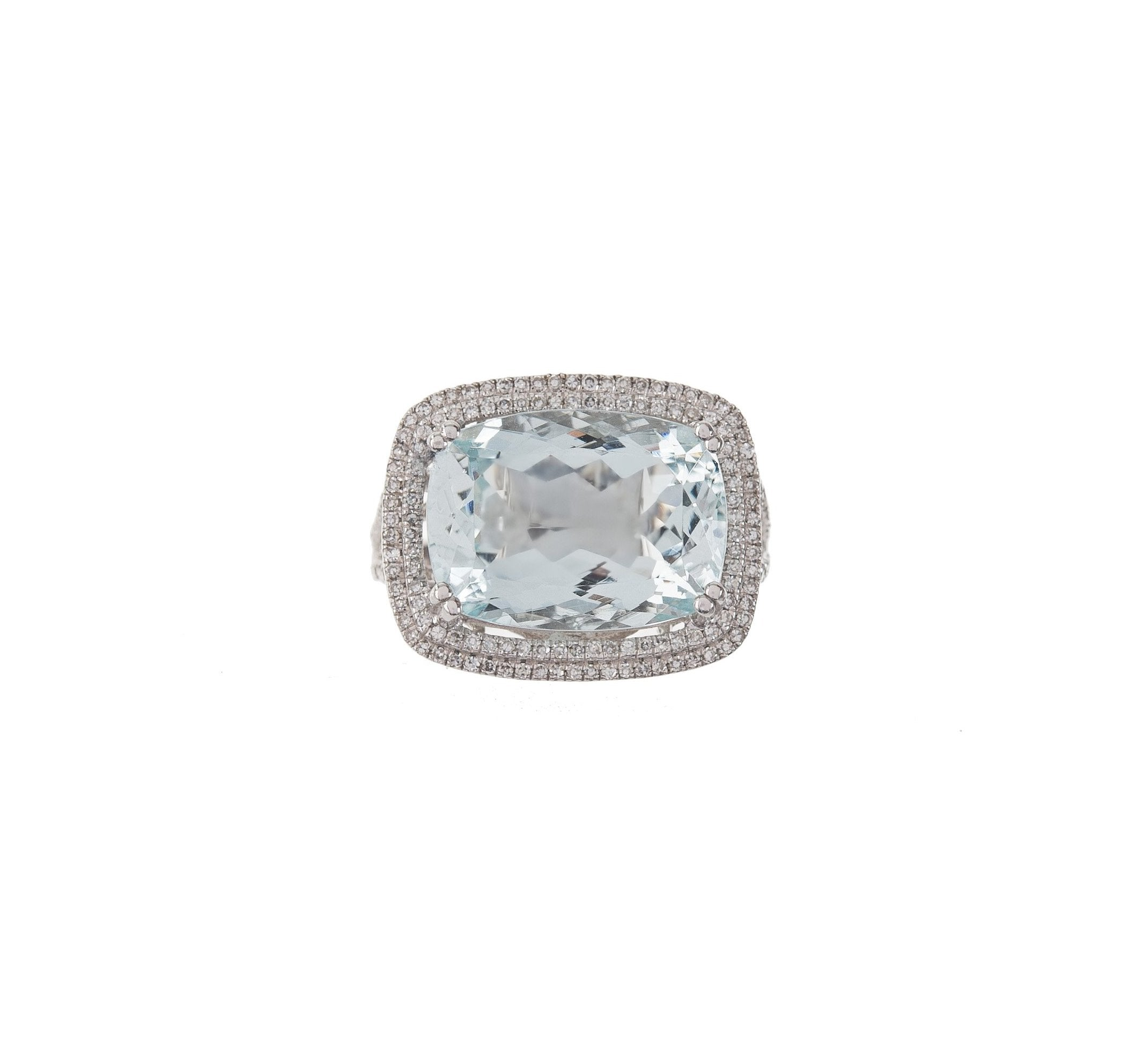 Cushion Cut Aquamarine & Pave Ring