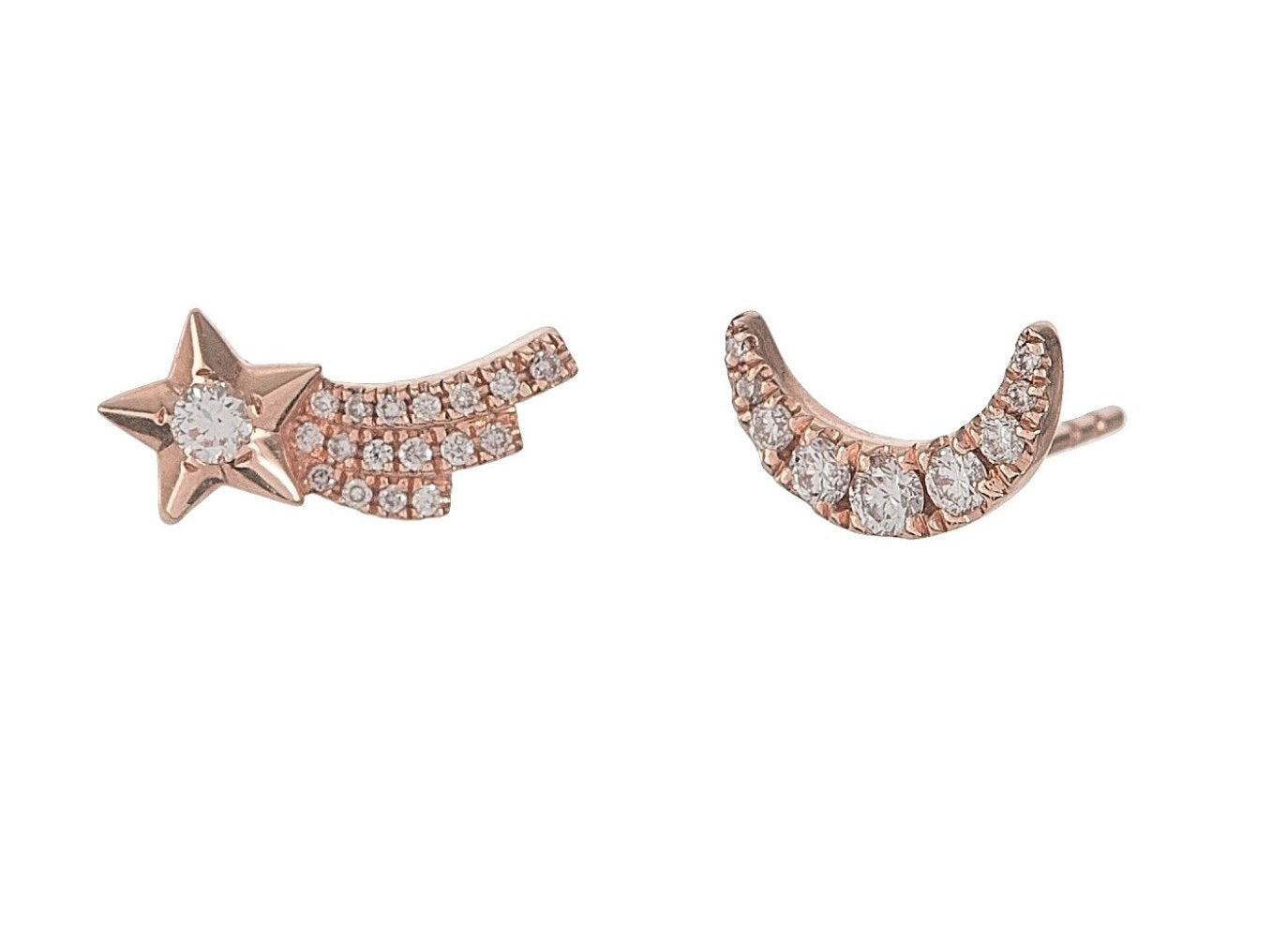 Pave Moon & Shooting Star Studs
